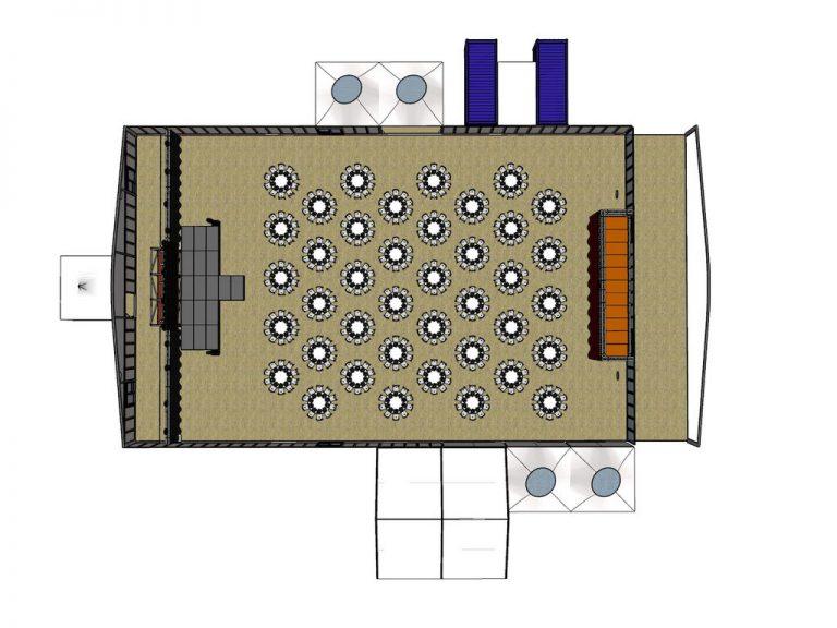 Meinl's Rösthalle Plan Galabestuhlung